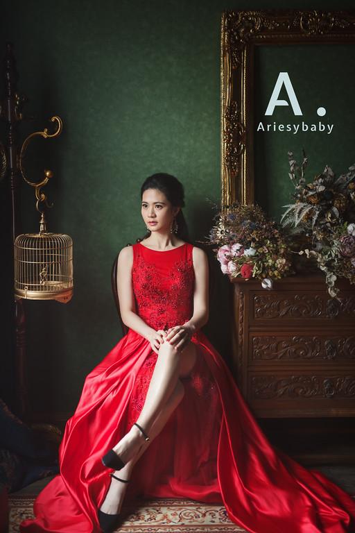 禮服出租,婚紗禮服工作室,新莊自助婚紗,手工婚紗,緞面紅色開岔魚尾晚禮服