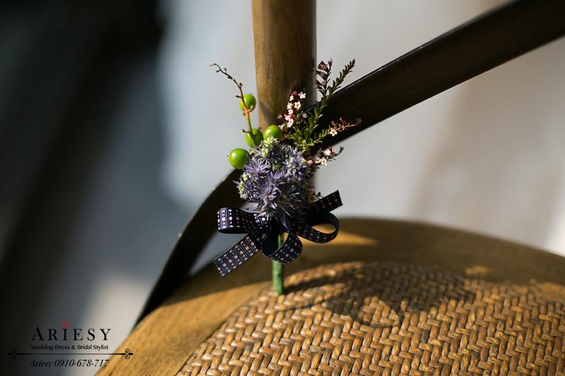 愛瑞思鮮花新秘,新娘捧花,歐美風,紫色新郎胸花