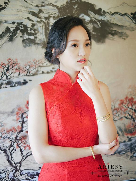文定旗袍,旗袍髮型,黑髮新娘,鮮花造型,紅色禮服造型,新娘秘書作品,君悅文定
