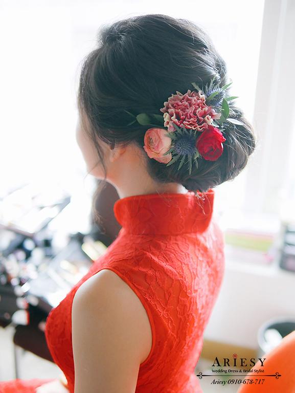 文定旗袍,旗袍髮型,鮮花造型,紅色禮服造型,新娘秘書作品,君悅文定