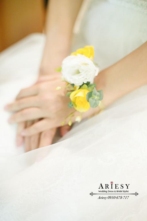 柯佳嬿頭巾新娘造型,美式戶外證婚,短髮新娘髮型,清新白綠黃色美式捧花,愛瑞思,ariesy,孫立人官邸婚宴