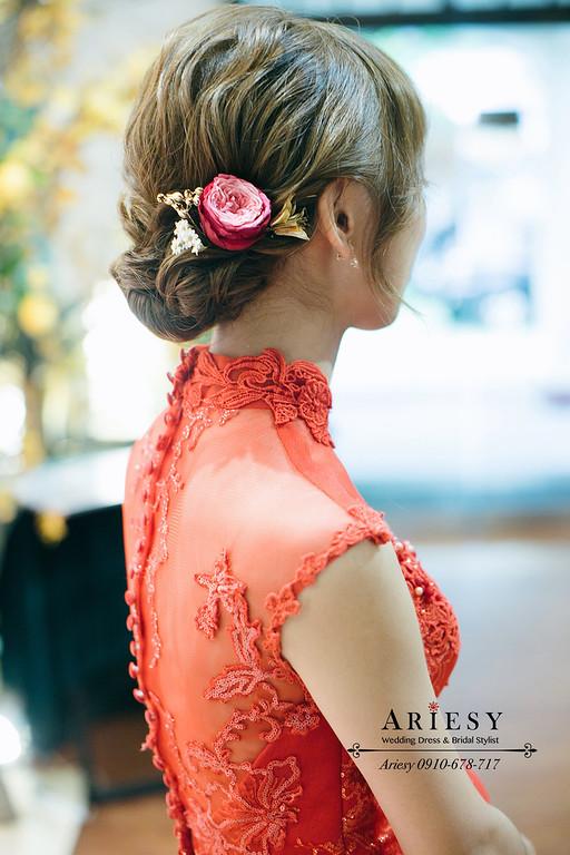 旗袍造型,旗袍禮服,短髮新娘髮型,ariesy,愛瑞思,台北新秘,孫立人官邸婚宴