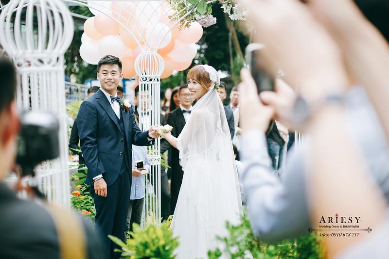 美式戶外證婚,短髮新娘髮型風格,ariesy,愛瑞思,鮮花新秘,鮮花新娘造型,孫立人官邸婚禮