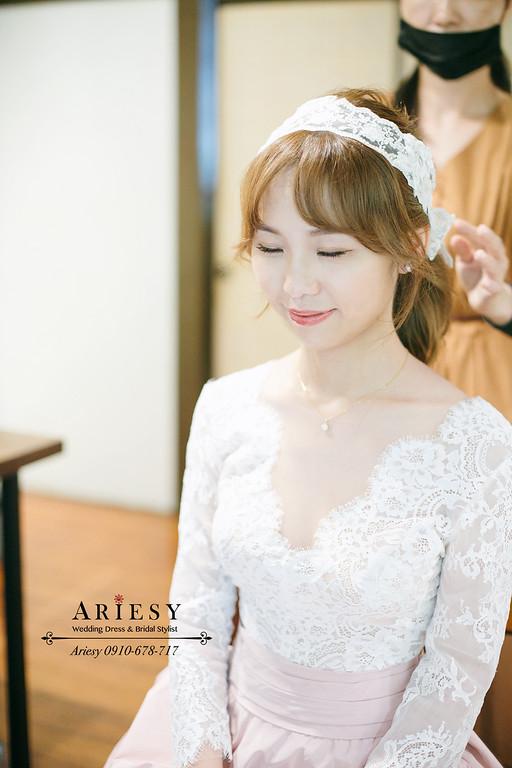 柯佳嬿髮帶頭巾,新娘秘書,美式婚禮,短髮新娘髮型風格,ariesy,愛瑞思,孫立人官邸婚禮