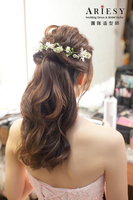 敬酒造型,蓬鬆編髮造型,桃園新娘祕書,新娘造型,花藝飾品,鮮花新祕