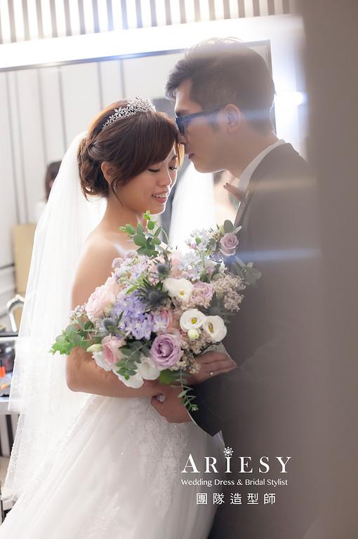 桃園新祕,新娘秘書,新娘造型,自然清透妝感,白紗造型,蓬鬆編髮,新秘
