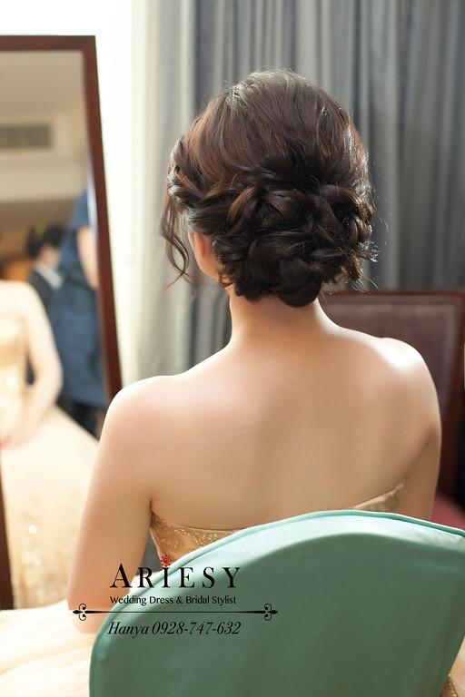 桃園新祕,新娘造型,時尚造型,簡約白紗造型,蓬鬆編髮