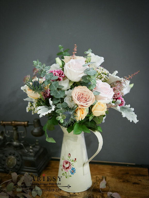 歐美新娘捧花,復古玫瑰,進口淡粉玫,田園玫瑰,新娘捧花