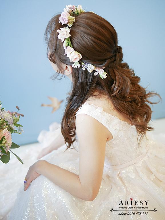鮮花新秘,空氣瀏海新娘造型,新娘混血兒妝感,鮮花新娘秘書,歐美新秘