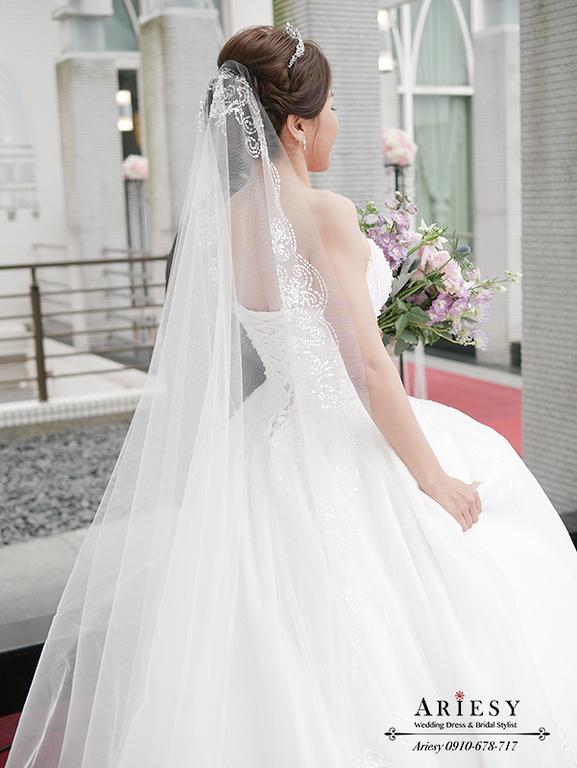 歐美新秘,白紗長頭紗造型,混血兒妝感,台北新秘,新娘秘書,新秘