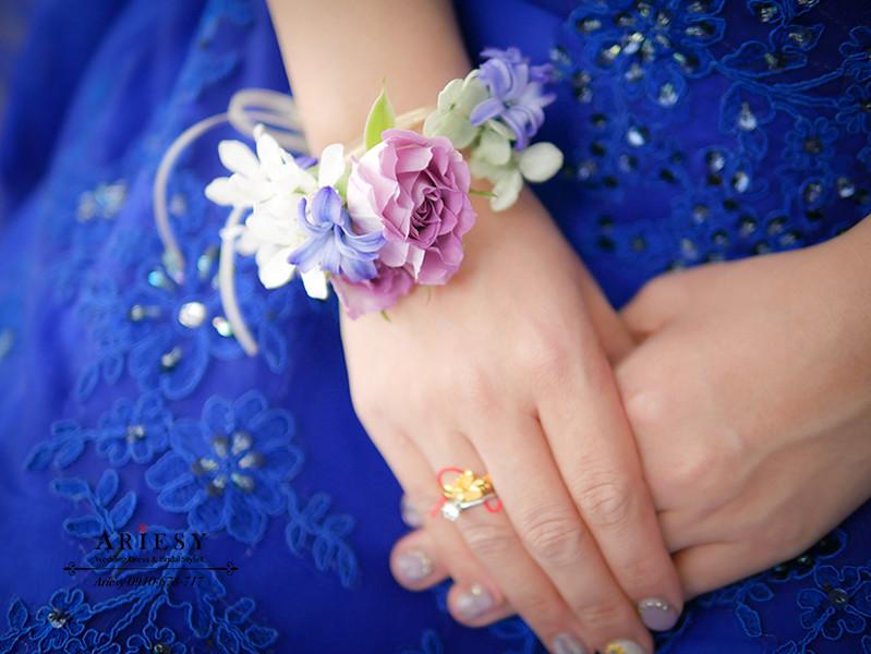 新娘手環,新娘手腕花,深藍紫色新娘禮服,寶藍色婚紗,新娘造型,新娘秘書