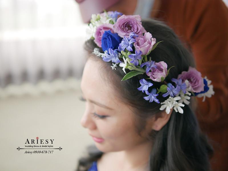 ariesy,愛瑞思,新娘花冠,新娘花圈造型,新娘花環,鮮花花圈