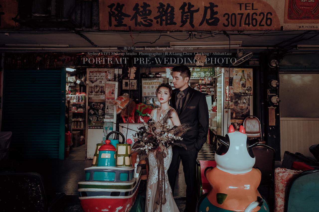 大稻埕、慈聖宮、陽明山、台北婚紗、復古時尚風格婚紗