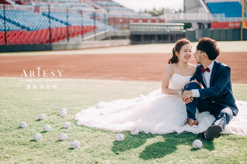 婚紗攝影,婚紗造型,棒球場婚紗,新娘造型,婚紗包套,攝影大嘴,新祕Hanya,新娘秘書,愛瑞思品牌訂製手工婚紗,桃園棒球場,Rakuten婚紗