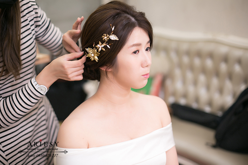 新娘秘書,新秘,台北新秘,短髮新娘,韓風新娘盤髮,愛瑞思