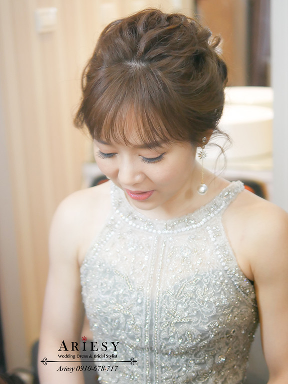 歐美新娘造型,新娘妝髮,Ariesy,黑色禮服造型,愛瑞思,短髮新娘造型