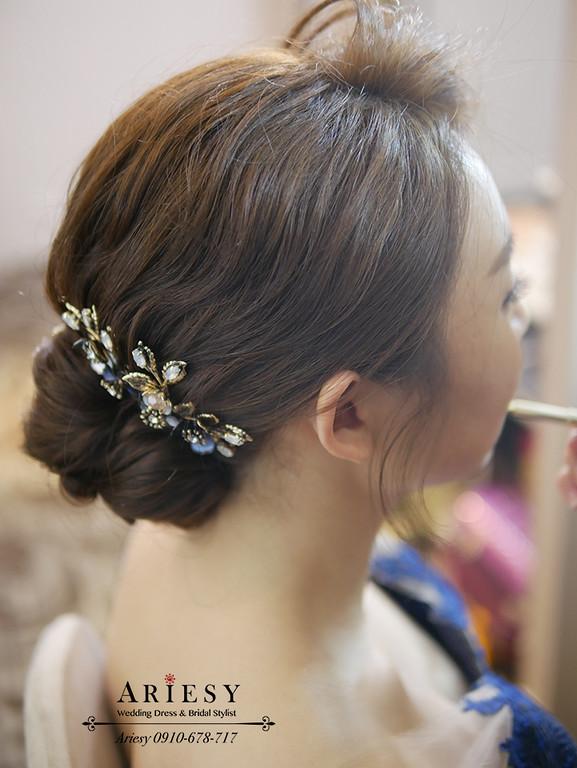 敬酒造型,愛瑞思,短髮新娘盤髮,藍色禮服造型,復古髮型