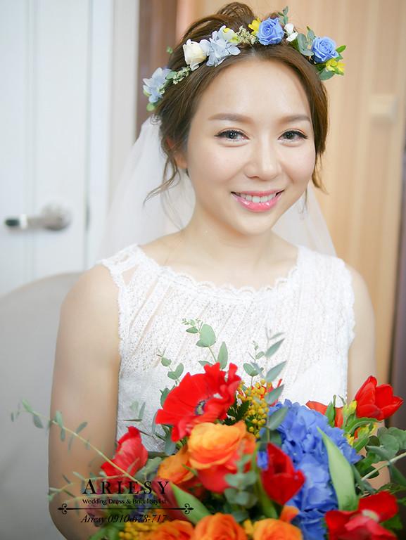 戶外婚禮,證婚,白紗造型,短髮新娘造型,新娘妝髮