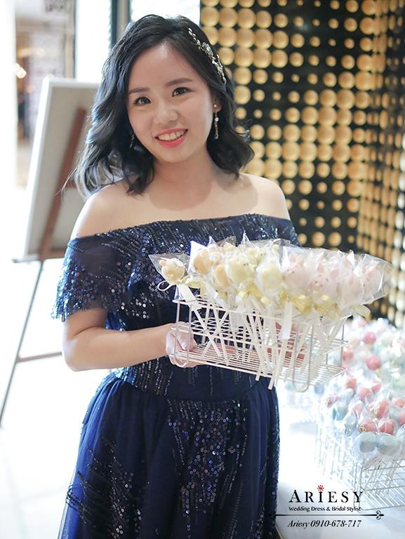 短髮新娘造型,黑髮新娘造型,大倉久和婚禮,深藍色亮片禮服,愛瑞思婚紗,台北新秘