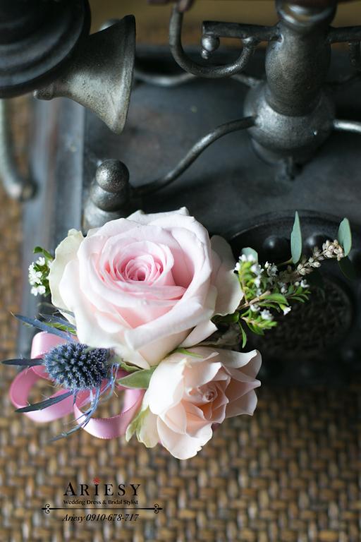 主婚人胸花,粉紅色胸花,新娘秘書,台北新秘,美式婚禮胸花