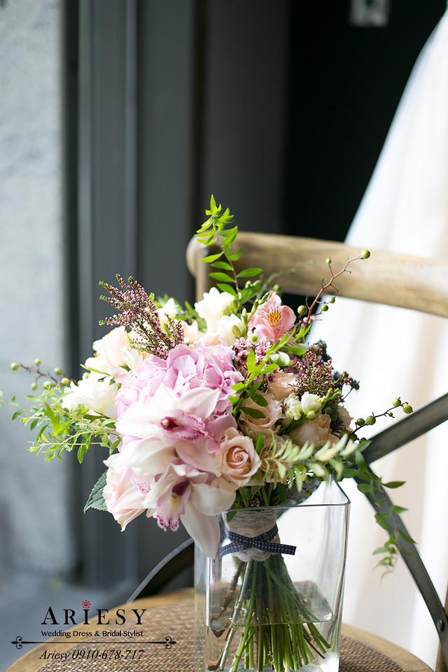 粉色捧花,歐美風,粉色繡球新娘捧花,Bridal bouquet,愛瑞思鮮花新秘