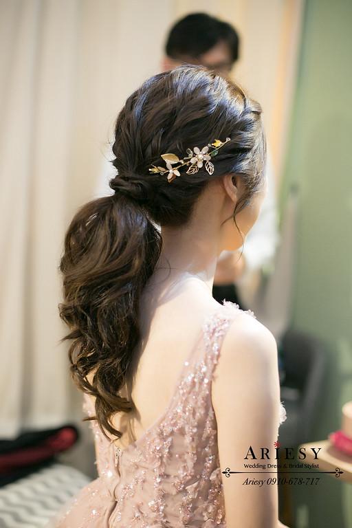 粉紅色禮服新娘造型,愛瑞思,ariesy,明星妝感,台北新秘,新娘秘書,新秘推薦