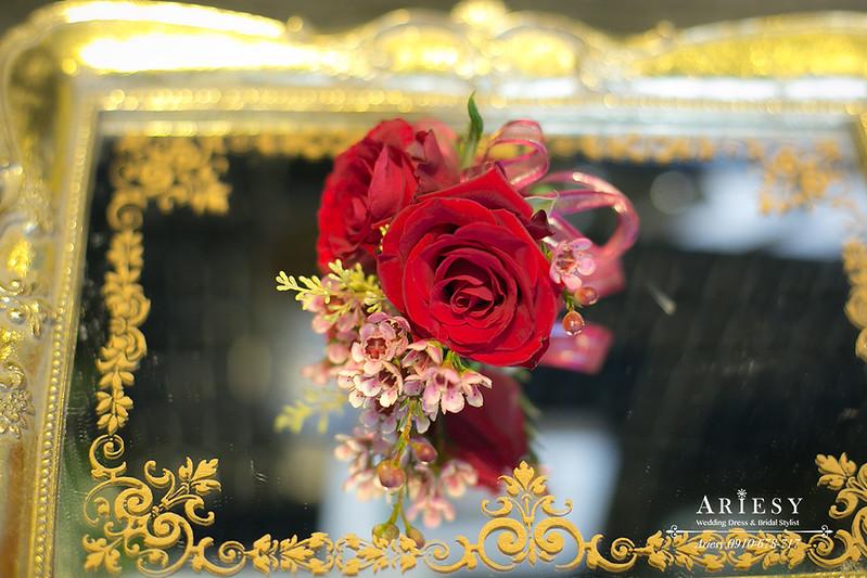 紅色主婚人胸花,歐美風,愛瑞思鮮花新秘,新娘捧花