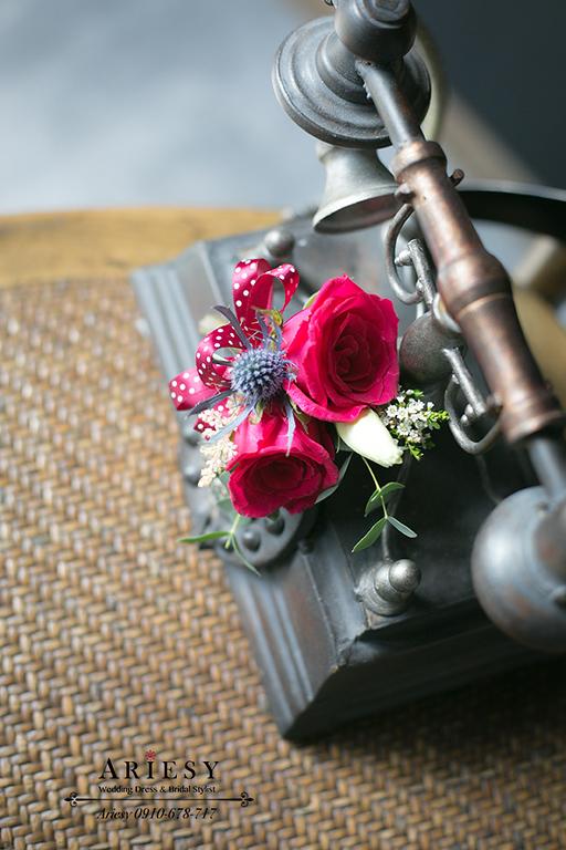主婚人胸花,紅色胸花,新娘秘書,台北新秘