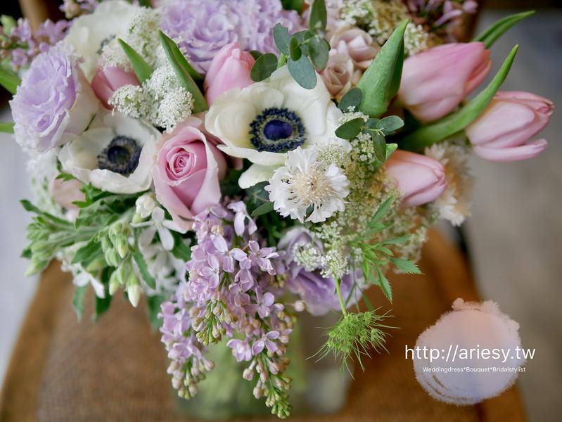 台北新秘,歐美新娘捧花,繽紛粉紫色系新娘捧花,美式新娘捧花