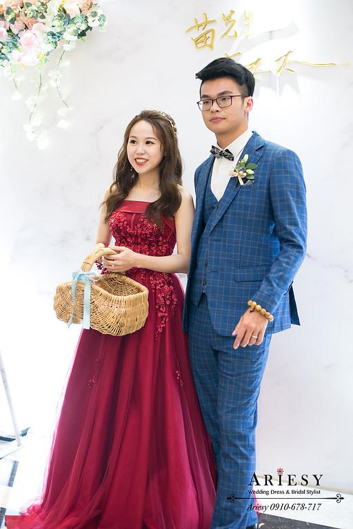 紅色禮服造型,歐美新娘髮型,韓系新娘,愛瑞思,ARIESY,送客造型