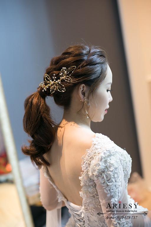 編髮馬尾,韓風新娘髮型,韓系新娘,愛瑞思,ARIESY,歐美編髮造型