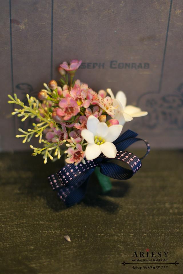 新娘捧花,歐美風,繽紛粉色新郎胸花,愛瑞思鮮花新秘