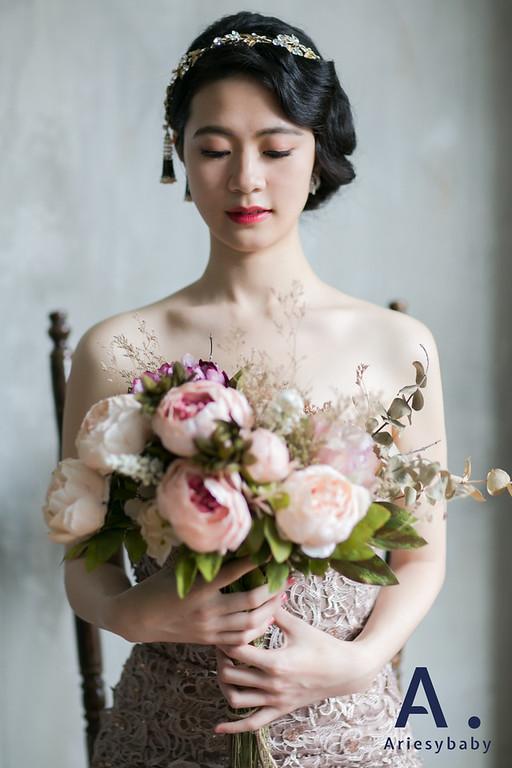 自助婚紗,復古名媛造型,新娘髮型,黑髮新娘,魚尾禮服造型