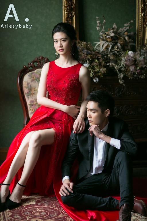 新娘造型,新娘髮型,自助婚紗,直髮造型,紅色禮服造型
