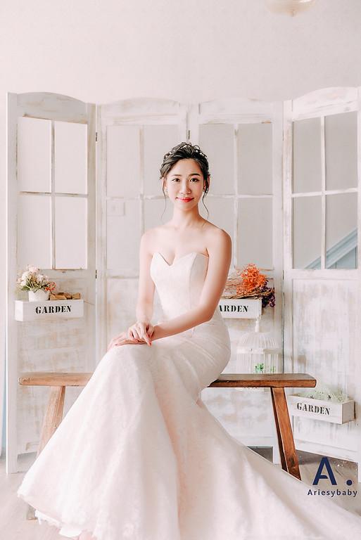 Ariesybaby造型團隊,婚攝大嘴,ARIESY愛瑞思品牌訂製手工婚紗,蓬鬆編髮,新娘造型