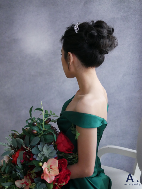 Ariesybaby造型團隊,黑髮新娘造型,新娘髮型,歐美風新娘,ARIESY愛瑞思品牌訂製手工婚紗