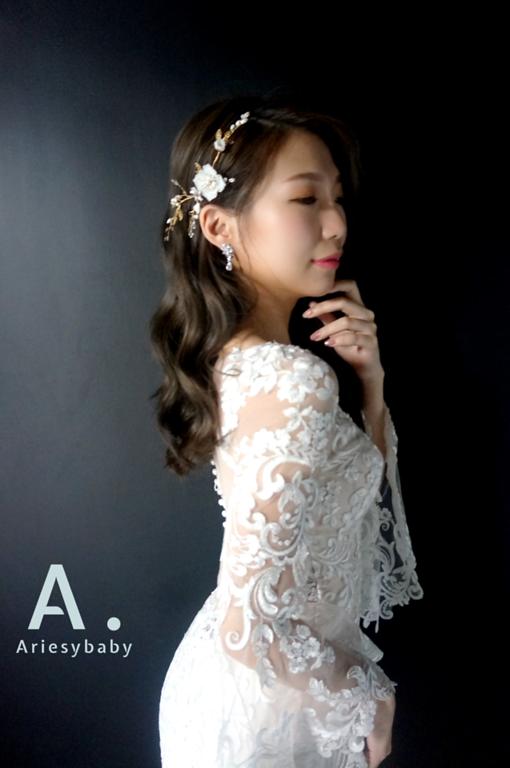 新娘秘書,魚尾白紗造型,新娘造型,浪漫捲髮造型,Ariesybaby造型團隊