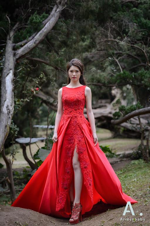 新娘髮型,新娘造型,紅色晚禮服造型,陽明山花卉中心,自助婚紗造型