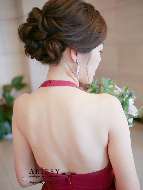 優雅新娘盤髮髮型,削肩新娘禮服,單眼皮新娘,黑髮新娘髮型,台北新娘秘書