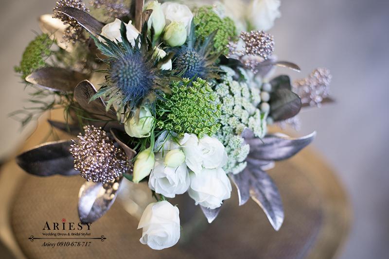 銀色捧花,送客小捧花,美式捧花,新娘捧花,Bridalbouquet,愛瑞思,ARIESY
