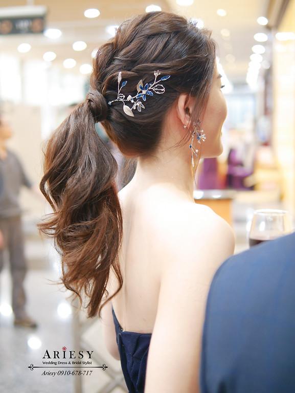 深藍色晚禮服造型,愛瑞思,ariesy,明星妝感,台北新秘,新娘秘書,新秘推薦