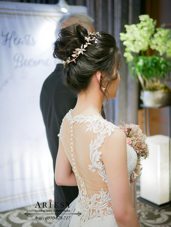 新娘秘書,愛瑞思,白紗造型,韓風新娘,丸子頭新娘髮型,台北新秘