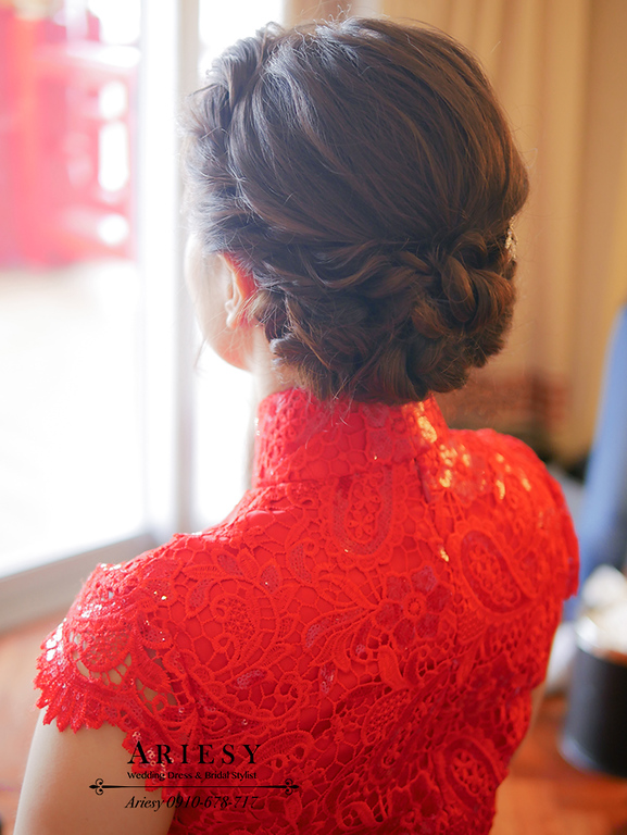 文定造型,旗袍造型,旗袍髮型,蓬鬆編髮,歐美新娘妝髮,紅色禮服