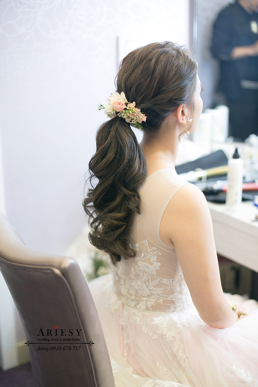 文定新娘造型,類白紗新娘造型,新娘秘書,台北新秘,韓系編髮新秘,愛瑞思,ARIESY