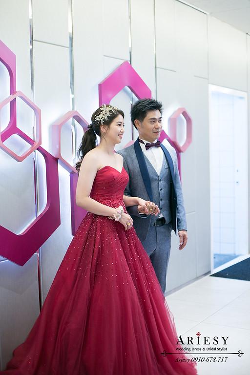 紅色禮服新秘,台北新娘秘書,文定新娘造型,送客新娘髮型,馬尾編髮新娘造型,新娘秘書