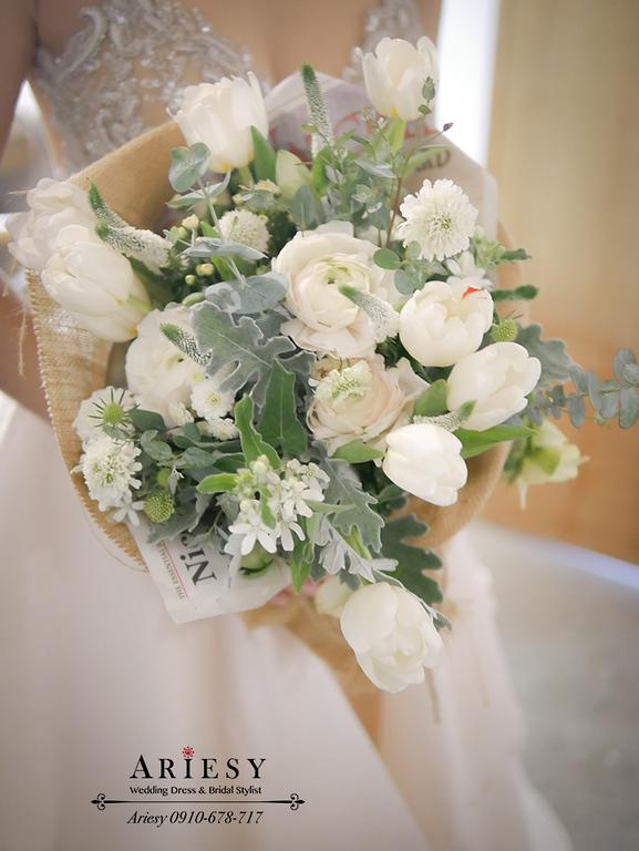 顏氏牧場,短髮新娘秘書,戶外婚禮,歐美風新娘捧花,新娘自然妝感,愛瑞思,ariesy