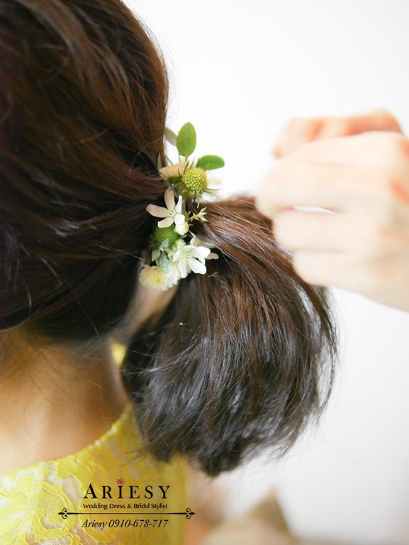 馬尾造型,短髮新娘造型,鮮花造型,新秘,ariesy,顏氏牧場
