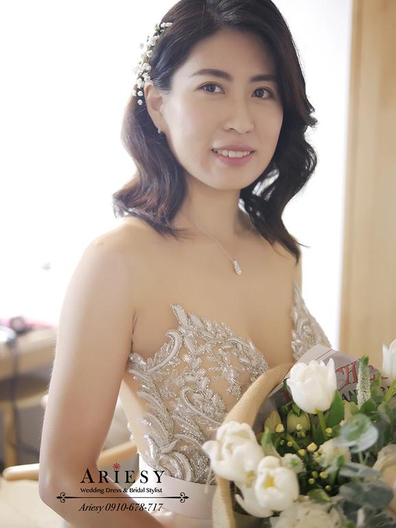 顏氏牧場,短髮新娘秘書,戶外婚禮,歐美風新秘,新娘自然妝感,愛瑞思,ariesy