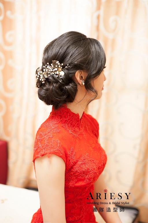 結婚新娘造型,文定髮型,新娘秘書,黑髮造型,典雅盤髮髮型