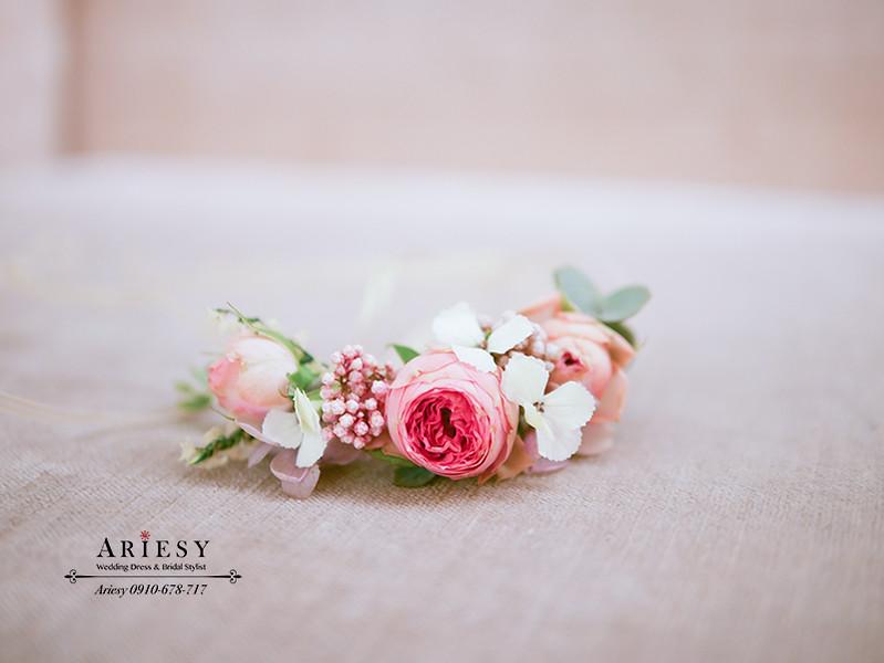 田園迷你玫瑰,新娘手花環,鮮花手腕花,新秘作品,愛瑞思,ariesy